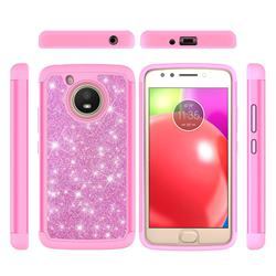 Glitter Rhinestone Bling Shock Absorbing Hybrid Defender Rugged Phone Case Cover for Motorola Moto E4 (USA) - Pink