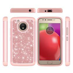 Glitter Rhinestone Bling Shock Absorbing Hybrid Defender Rugged Phone Case Cover for Motorola Moto E4 (USA) - Rose Gold