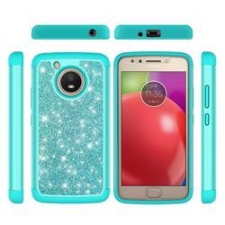 Glitter Rhinestone Bling Shock Absorbing Hybrid Defender Rugged Phone Case Cover for Motorola Moto E4 (USA) - Green