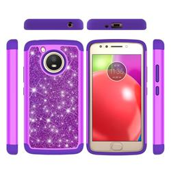 Glitter Rhinestone Bling Shock Absorbing Hybrid Defender Rugged Phone Case Cover for Motorola Moto E4 (USA) - Purple