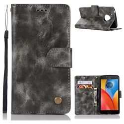 Luxury Retro Leather Wallet Case for Motorola Moto E4 (USA) - Gray