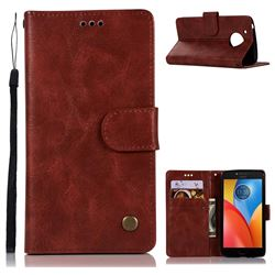 Luxury Retro Leather Wallet Case for Motorola Moto E4 (USA) - Wine Red