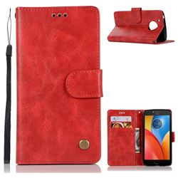 Luxury Retro Leather Wallet Case for Motorola Moto E4 (USA) - Red