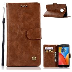 Luxury Retro Leather Wallet Case for Motorola Moto E4 (USA) - Brown