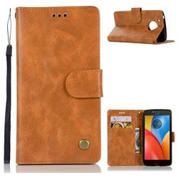Luxury Retro Leather Wallet Case for Motorola Moto E4 (USA) - Golden