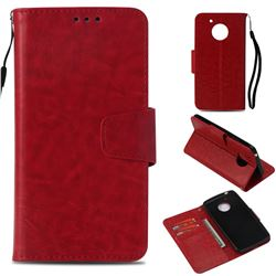 Retro Phantom Smooth PU Leather Wallet Holster Case for Motorola Moto E4 (USA) - Red