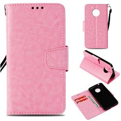 Retro Phantom Smooth PU Leather Wallet Holster Case for Motorola Moto E4 (USA) - Pink