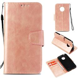 Retro Phantom Smooth PU Leather Wallet Holster Case for Motorola Moto E4 (USA) - Rose Gold