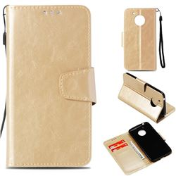 Retro Phantom Smooth PU Leather Wallet Holster Case for Motorola Moto E4 (USA) - Champagne