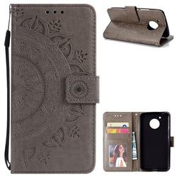 Intricate Embossing Datura Leather Wallet Case for Motorola Moto E4 (USA) - Gray