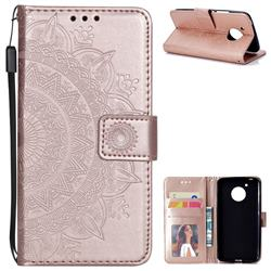 Intricate Embossing Datura Leather Wallet Case for Motorola Moto E4 (USA) - Rose Gold