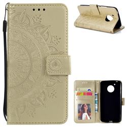 Intricate Embossing Datura Leather Wallet Case for Motorola Moto E4 (USA) - Golden