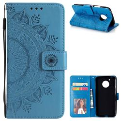 Intricate Embossing Datura Leather Wallet Case for Motorola Moto E4 (USA) - Blue