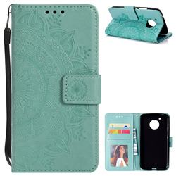 Intricate Embossing Datura Leather Wallet Case for Motorola Moto E4 (USA) - Mint Green