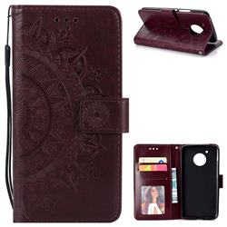 Intricate Embossing Datura Leather Wallet Case for Motorola Moto E4 (USA) - Brown