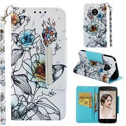 Fotus Flower Big Metal Buckle PU Leather Wallet Phone Case for Motorola Moto E4 (USA)