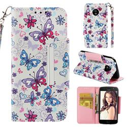 Colored Butterfly Big Metal Buckle PU Leather Wallet Phone Case for Motorola Moto E4 (USA)