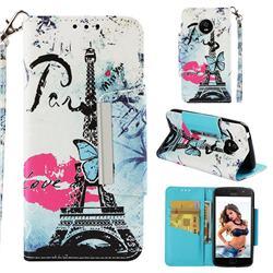Lip Tower Big Metal Buckle PU Leather Wallet Phone Case for Motorola Moto E4 (USA)
