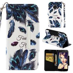 Peacock Feather Big Metal Buckle PU Leather Wallet Phone Case for Motorola Moto E4 (USA)