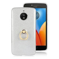 Luxury Soft TPU Glitter Back Ring Cover with 360 Rotate Finger Holder Buckle for Motorola Moto E4 Plus (USA) - White