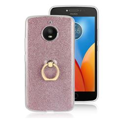 Luxury Soft TPU Glitter Back Ring Cover with 360 Rotate Finger Holder Buckle for Motorola Moto E4 Plus (USA) - Pink