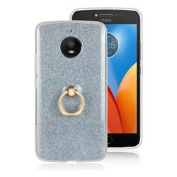 Luxury Soft TPU Glitter Back Ring Cover with 360 Rotate Finger Holder Buckle for Motorola Moto E4 Plus (USA) - Blue