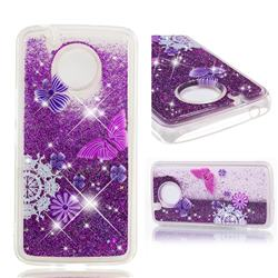 Purple Flower Butterfly Dynamic Liquid Glitter Quicksand Soft TPU Case for Motorola Moto E4 Plus (USA)
