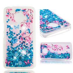 Blue Plum Blossom Dynamic Liquid Glitter Quicksand Soft TPU Case for Motorola Moto E4 Plus (USA)