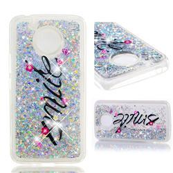 Smile Flower Dynamic Liquid Glitter Quicksand Soft TPU Case for Motorola Moto E4 Plus (USA)