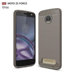 Luxury Carbon Fiber Brushed Wire Drawing Silicone TPU Back Cover for Motorola Moto Z2 Force (Gray)