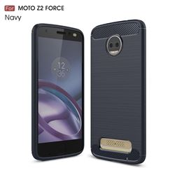 Luxury Carbon Fiber Brushed Wire Drawing Silicone TPU Back Cover for Motorola Moto Z2 Force (Navy)