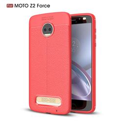 Luxury Auto Focus Litchi Texture Silicone TPU Back Cover for Motorola Moto Z2 Force - Red