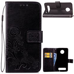 Embossing Imprint Four-Leaf Clover Leather Wallet Case for Motorola Moto Z Play - Black