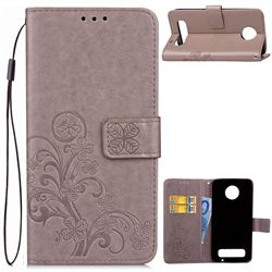 Embossing Imprint Four-Leaf Clover Leather Wallet Case for Motorola Moto Z Play - Grey