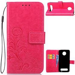 Embossing Imprint Four-Leaf Clover Leather Wallet Case for Motorola Moto Z Play - Rose