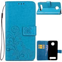 Embossing Imprint Four-Leaf Clover Leather Wallet Case for Motorola Moto Z Play - Blue