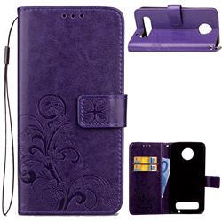Embossing Imprint Four-Leaf Clover Leather Wallet Case for Motorola Moto Z Play - Purple