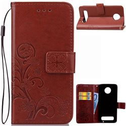 Embossing Imprint Four-Leaf Clover Leather Wallet Case for Motorola Moto Z Play - Brown
