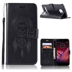 Intricate Embossing Owl Campanula Leather Wallet Case for Motorola Moto Z Play - Black