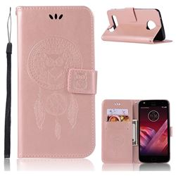 Intricate Embossing Owl Campanula Leather Wallet Case for Motorola Moto Z Play - Rose Gold