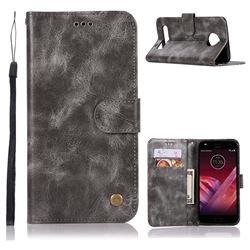 Luxury Retro Leather Wallet Case for Motorola Moto Z Play - Gray