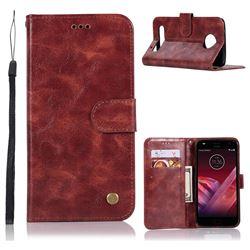 Luxury Retro Leather Wallet Case for Motorola Moto Z Play - Wine Red