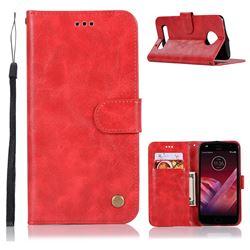 Luxury Retro Leather Wallet Case for Motorola Moto Z Play - Red