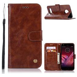 Luxury Retro Leather Wallet Case for Motorola Moto Z Play - Brown