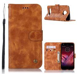 Luxury Retro Leather Wallet Case for Motorola Moto Z Play - Golden