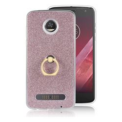 Luxury Soft TPU Glitter Back Ring Cover with 360 Rotate Finger Holder Buckle for Motorola Moto Z2 Play - Pink