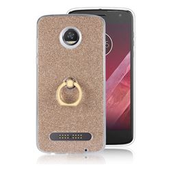 Luxury Soft TPU Glitter Back Ring Cover with 360 Rotate Finger Holder Buckle for Motorola Moto Z2 Play - Golden