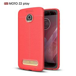 Luxury Auto Focus Litchi Texture Silicone TPU Back Cover for Motorola Moto Z2 Play - Red