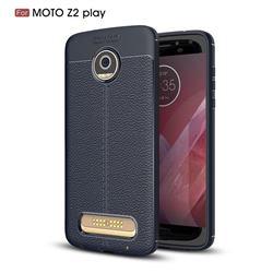 Luxury Auto Focus Litchi Texture Silicone TPU Back Cover for Motorola Moto Z2 Play - Dark Blue