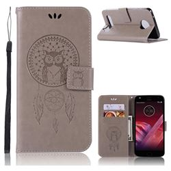 Intricate Embossing Owl Campanula Leather Wallet Case for Motorola Moto Z2 Play - Grey